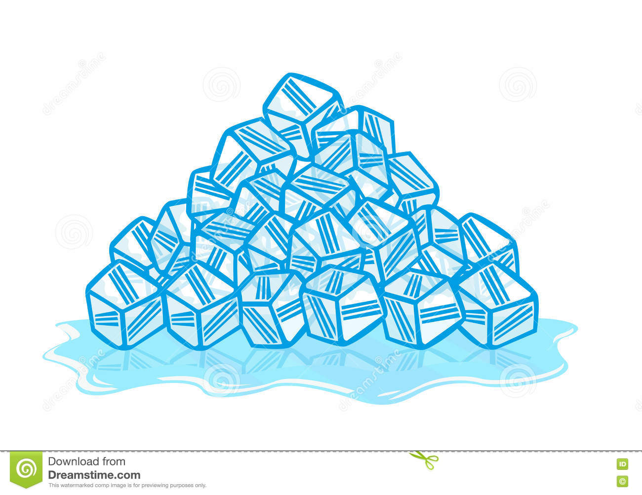 Ice Cubes Melting. Solid To Liquid Phase. Editable Clip Art. Stock.