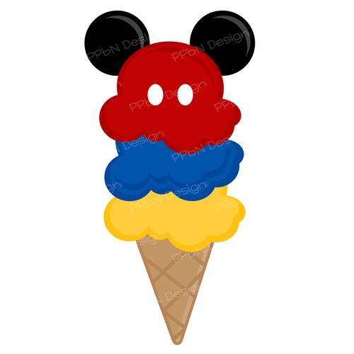 Disney ice cream cone SVG cutting file and clipart image.