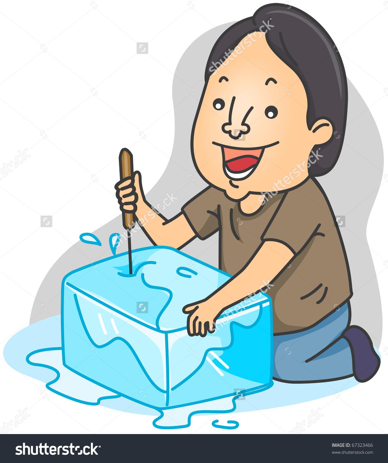 Illustration Man Breaking Block Ice Stock Vector 67323466.