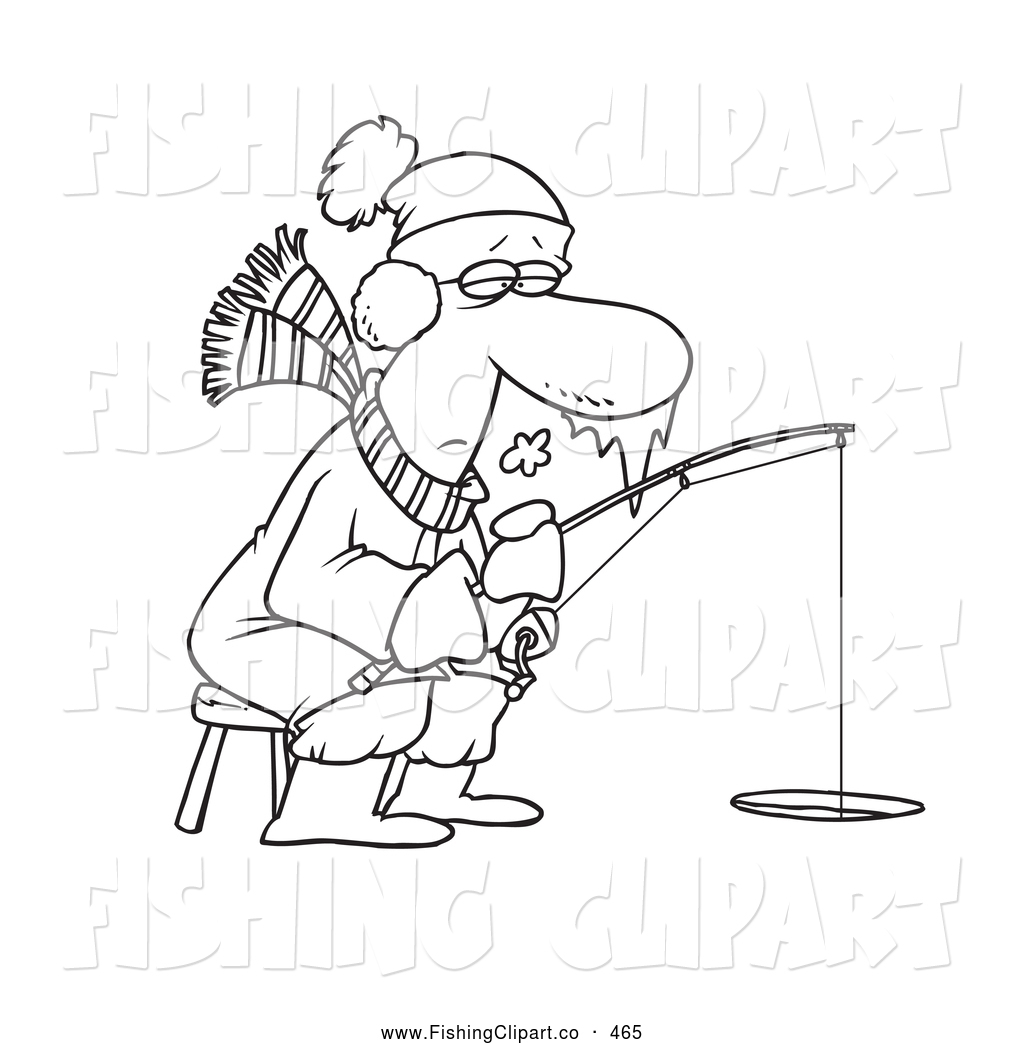Clip Art of a Coloring Page of a Frozen Man Ice Fishing by toonaday.