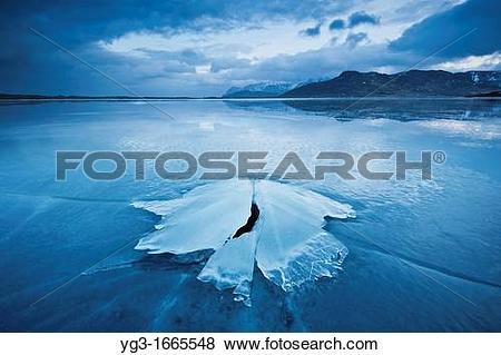 Pictures of Ice formation of frozen coast of Ytterpollen, Lofoten.