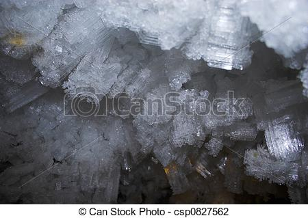 Stock Photo of Snow and ice crystals in the underground permafrost.