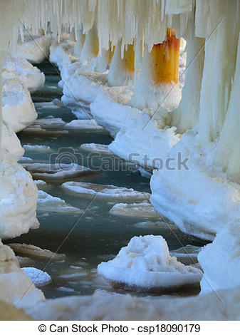 Picture of Winter scenery. Baltic Sea. Close up ice formations.