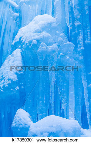 Stock Photography of Ice Castles icicles and ice formations.