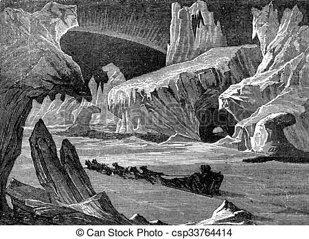 Clipart of In ice, arctic landscape. vintage engraving..