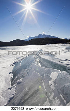 Pictures of Ice formations on a frozen lake shoreline in the.