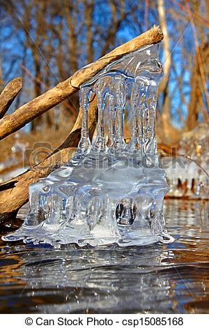 Stock Image of Beautiful Ice Formations Illinois.
