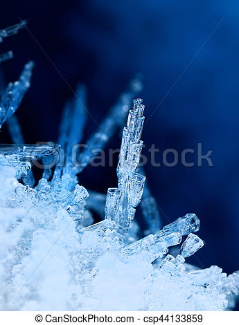 Stock Images of Tubular ice formations frozen winter nature.