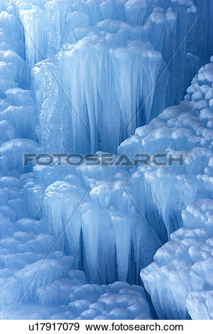 Stock Photograph of Ice formations in winter at Panther Falls.