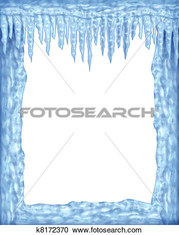 Stock Illustrations of Frozen frame of icicles and ice with white.