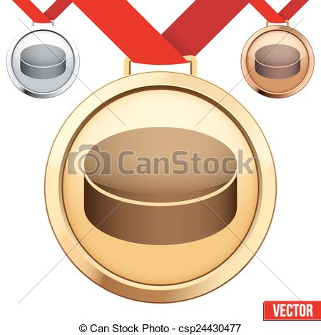 Vectors Illustration of Gold Medal with the symbol of puck ice.