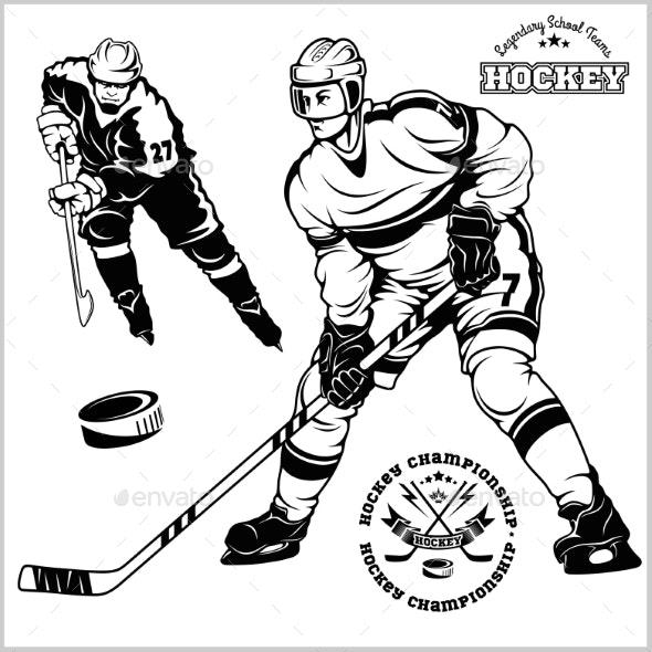 Ice Hockey Players Vector Set.