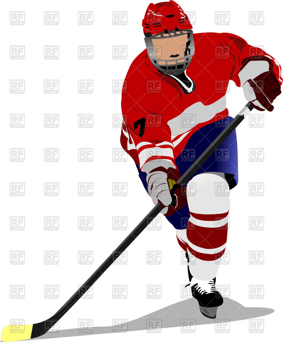 Ice hockey player in action Stock Vector Image.