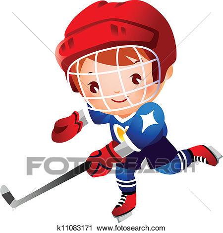 Boy ice hockey player Clipart.