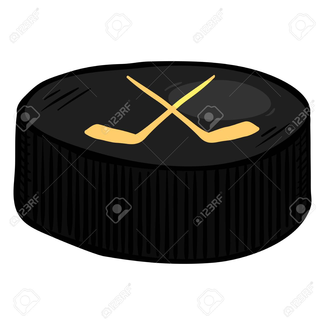 Vector Single Cartoon Black Puck for Ice Hockey.