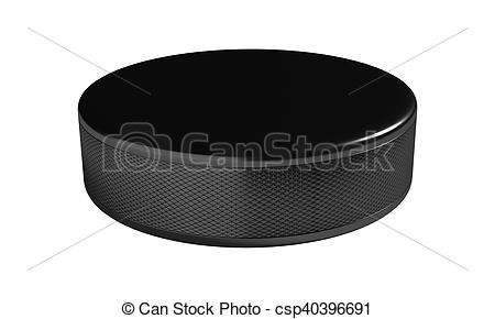 Ice hockey puck isolated on the white background.