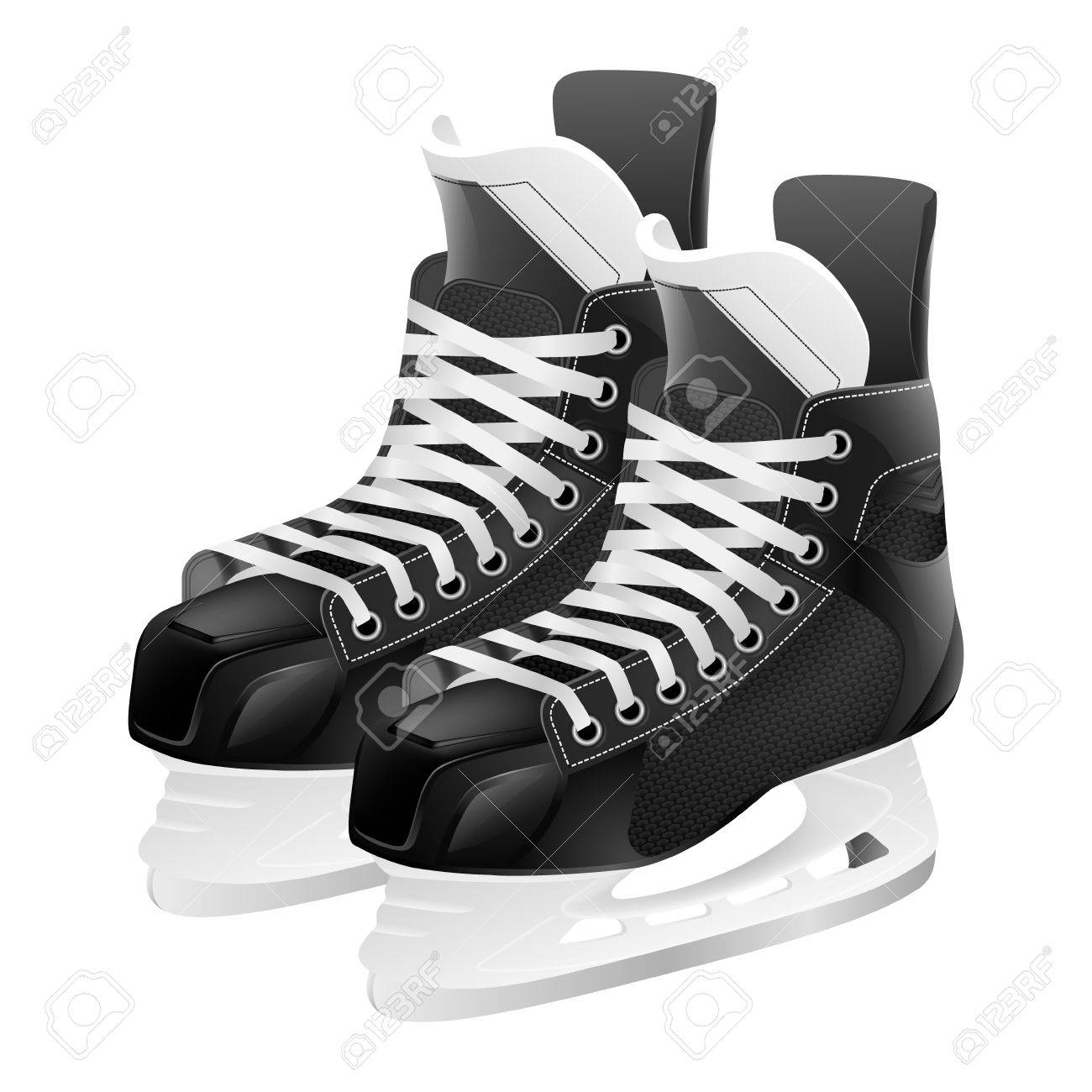 Ice hockey skates, isolated on white. Vector illustration..