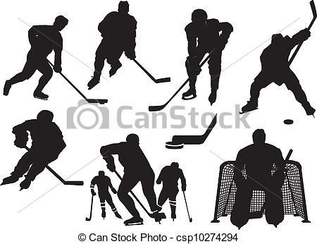 EPS Vectors of Ice hockey silhouettes set csp10274294.