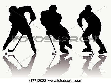 Clipart of Ice hockey players silhouette k17712023.