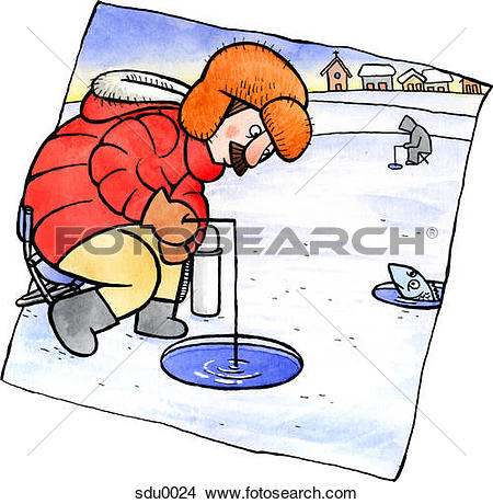Drawings of A man ice fishing sdu0024.