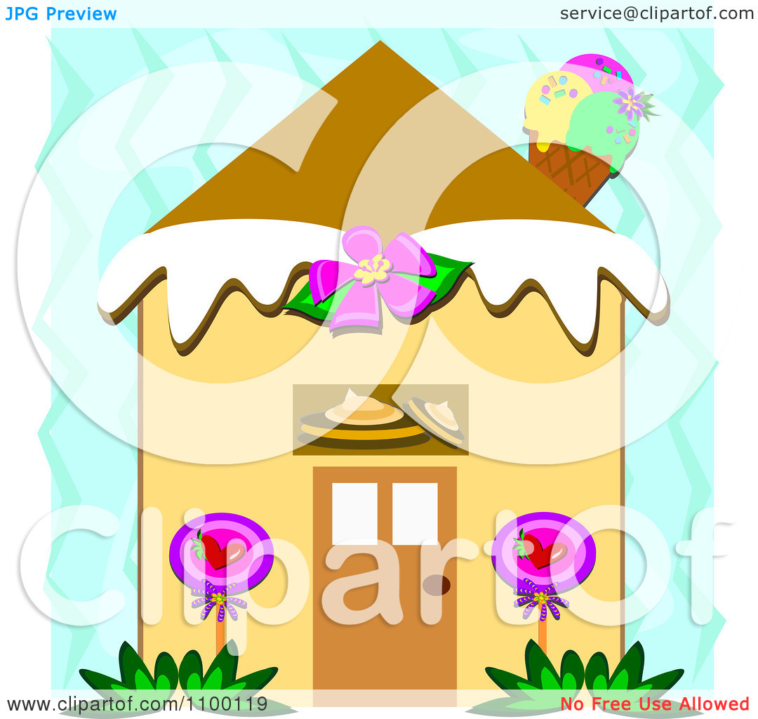 Clipart Candy House With An Ice Cream Cone Chimney Over Blue Zig.