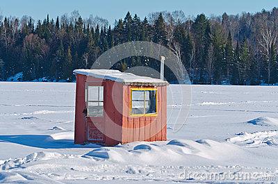 Ice Fishing Hut Stock Photo.