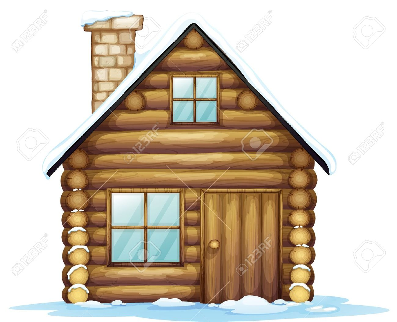 Illustration Of A House And Ice On A White Background Royalty Free.