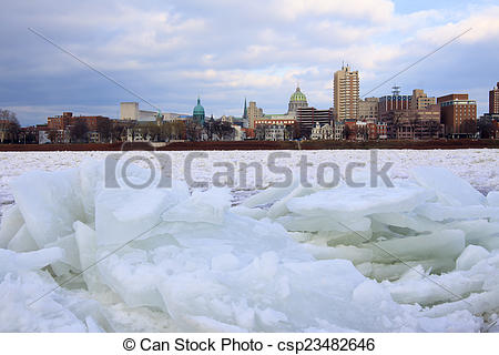 Stock Photo of Ice Jam on River.