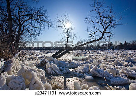 Stock Photography of Ice jam on the Red River, Winnipeg, Manitoba.