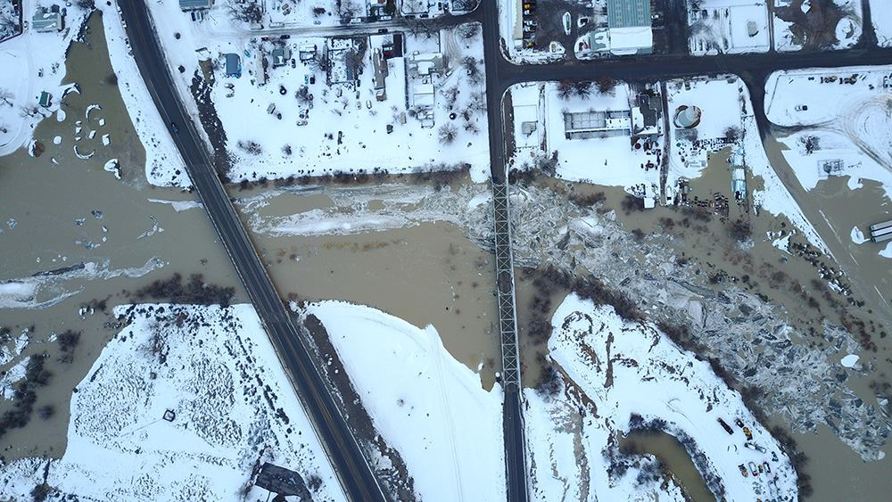 Flood Warning for Ice Jam Flooding Remains for Bighorn River in.