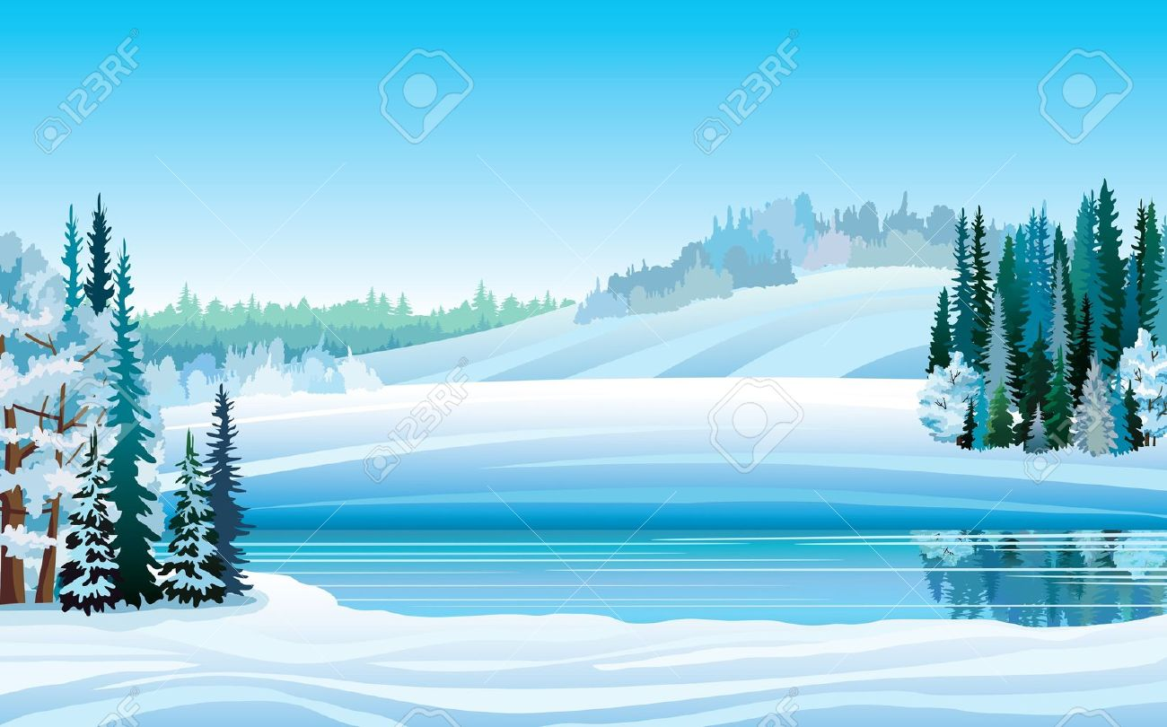 Vector Winter Landscape With Frozen Lake, Forest And Hills On.