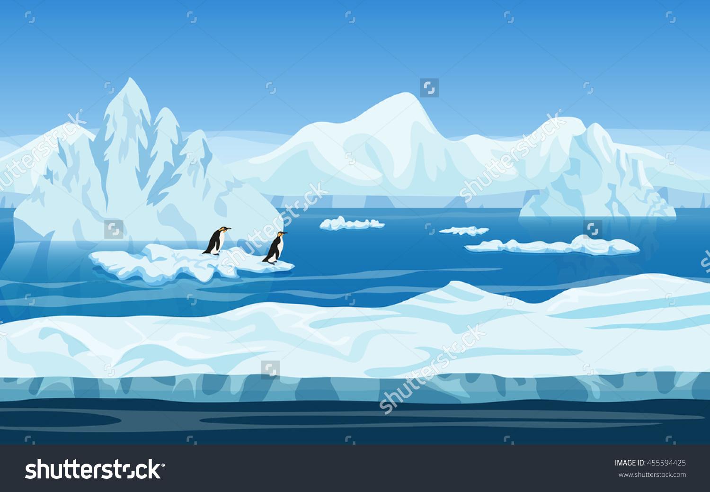 Cartoon Nature Winter Arctic Ice Landscape Stock Vector 455594425.