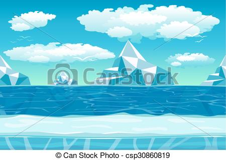Vector Clip Art of Cartoon winter landscape with ice and snow for.