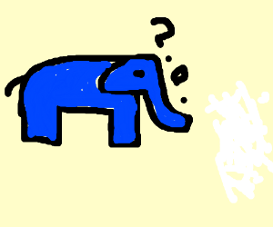 elephant investigating to lumps on ice (drawing by LupineDeity).