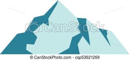 Ice mountain icon, flat style..