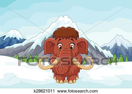 Cartoon mamouth in the ice mountain Clipart.