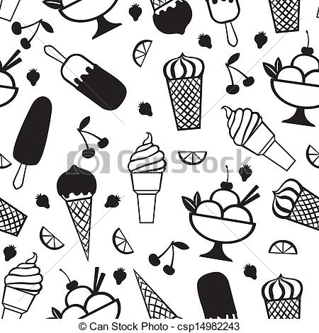 EPS Vector of Ice cream pattern seamless.