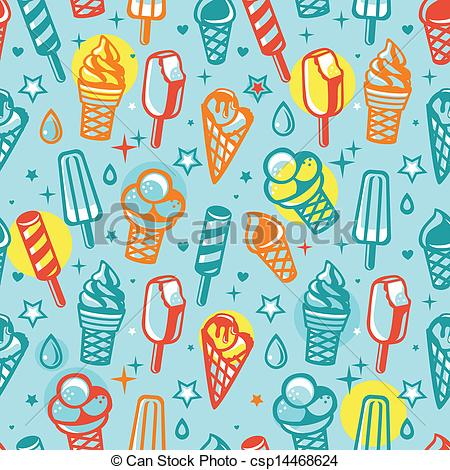 Vector Illustration of Vector seamless pattern with cartoon ice.