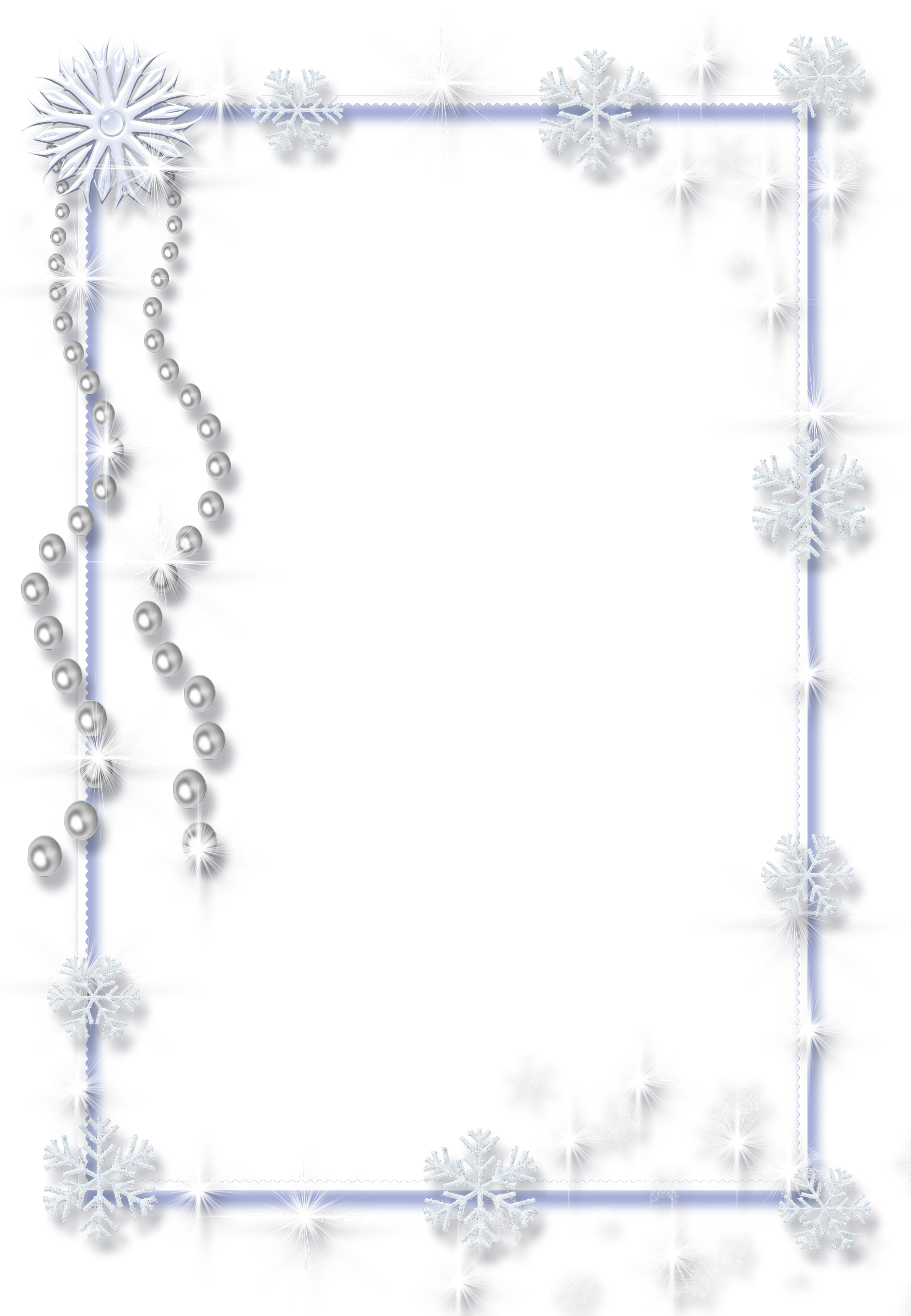 Large Christmas Transparent PNG Ice Photo Frame with Pearls.