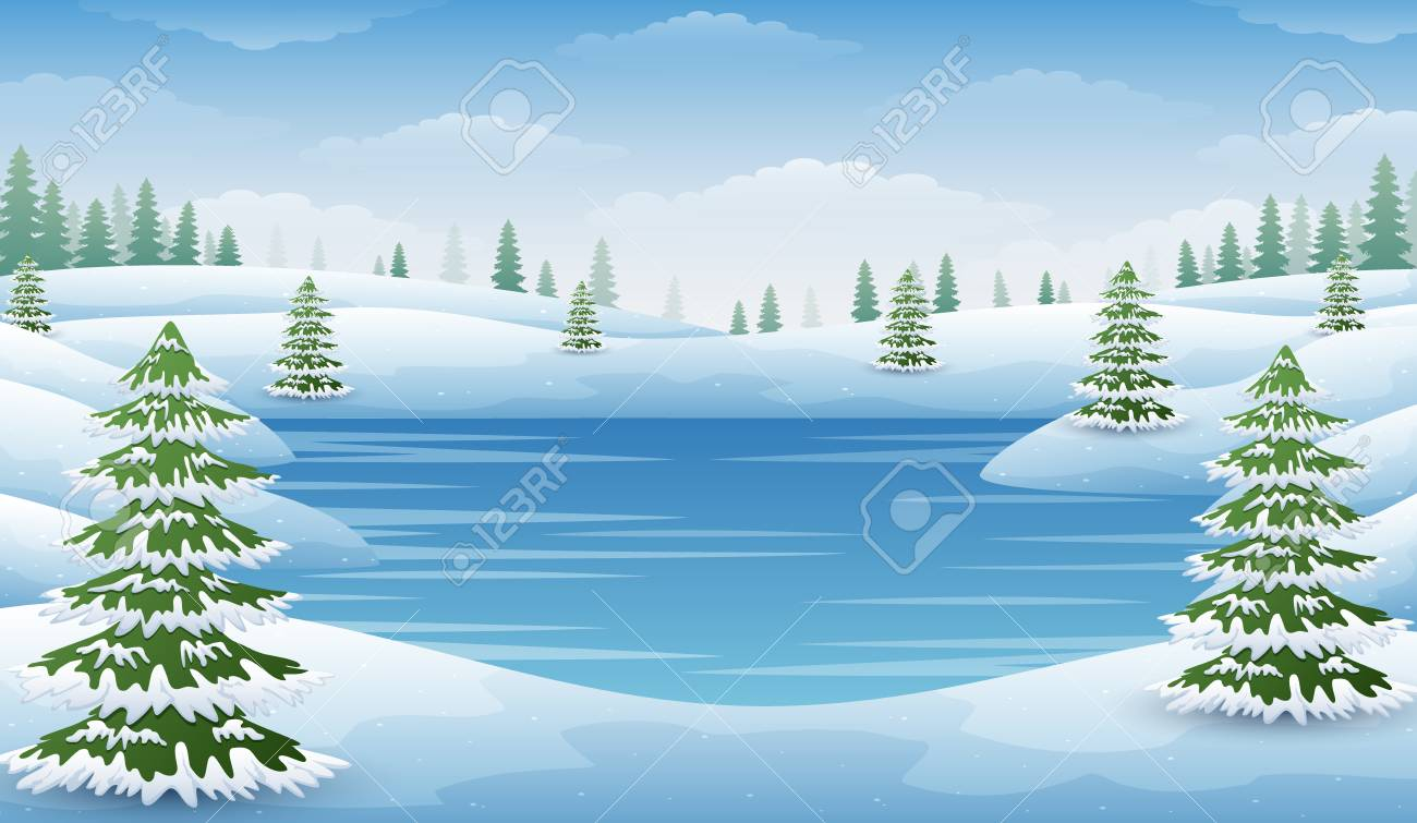 Vector illustration of Winter landscape with frozen lake and...