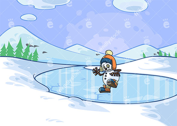 A Snowman Slipping On Ice While Trying To Cross A Frozen Lake Pod.