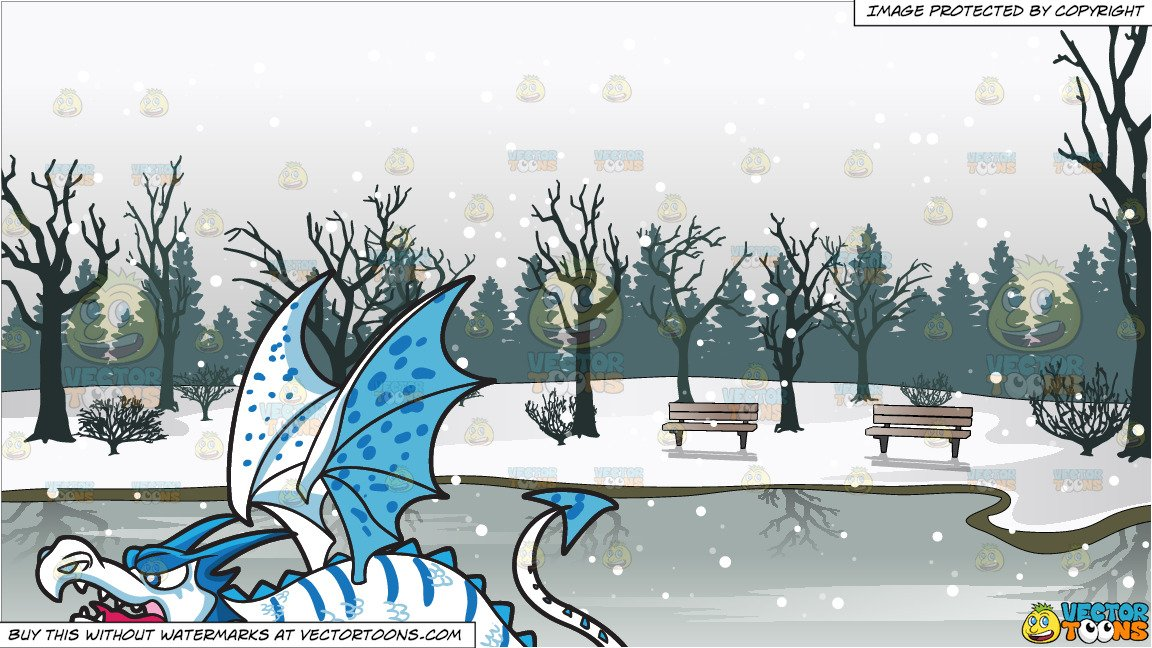 An Ice Dragon and Frozen Pond In A Park Background.