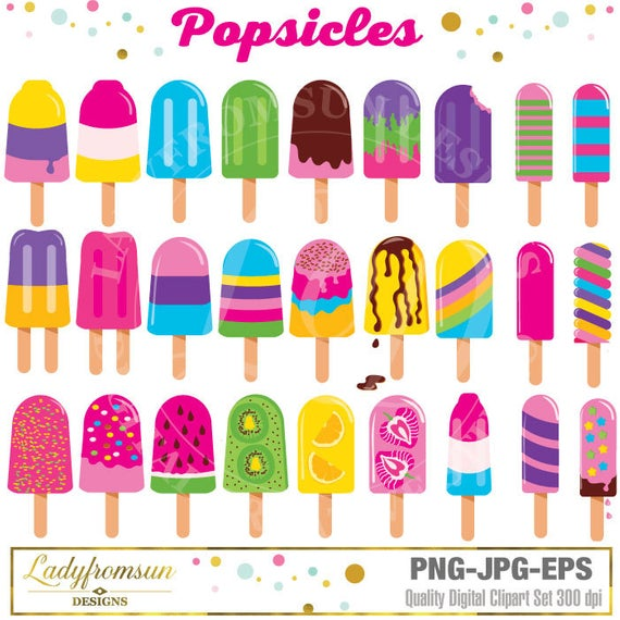 Popsicles Clipart, Ice Pop Clipart Clip Art, Summer, Ice Cream Clipart Clip  Art, Beach Clipart, Ice Cream, pink, Commercial.