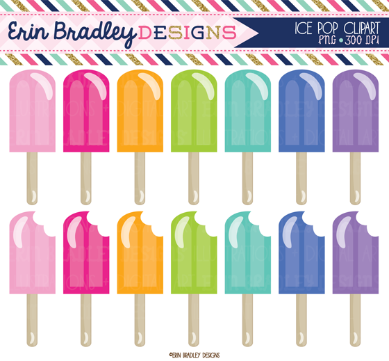 Erin Bradley Designs: Summer Fun Digital Papers & Ice Pops Clipart.