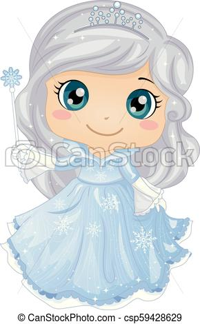 Kid Girl Ice Princess Illustration.