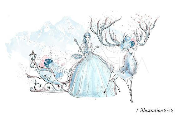 Frozen Clipart Ice Queen Narnia Clipart Winter Deer Sleigh.