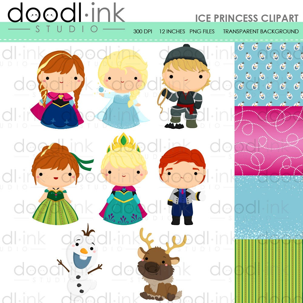 SALE 50%!!! Cute Ice Princess Digital Clipart / Snow Princess Clip Art /  Digital Paper For Personal Use / INSTANT DOWNLOAD.