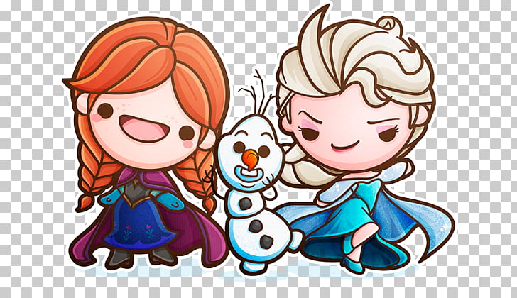 Elsa Anna Drawing Kavaii Chibi, Flat ice princess PNG.