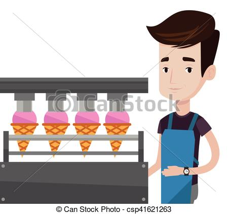 Clip Art Vector of Worker of factory producing ice.