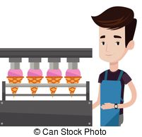 Vector Clip Art of Worker of factory producing ice.